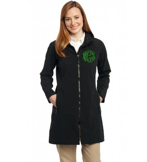 Ladies Monogrammed Black Long Soft Shell Jacket  Apparel & Accessories > Clothing > Outerwear > Coats & Jackets > Trench Coats