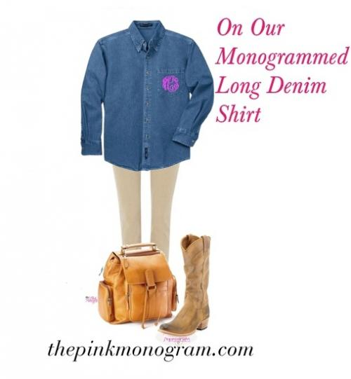 monogrammed long denim shirt for leggings and boots