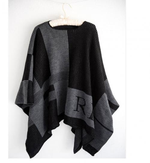 Monogrammed Check Knit Ladies Poncho   Apparel & Accessories > Clothing > Outerwear > Coats & Jackets > Capes & Ponchos
