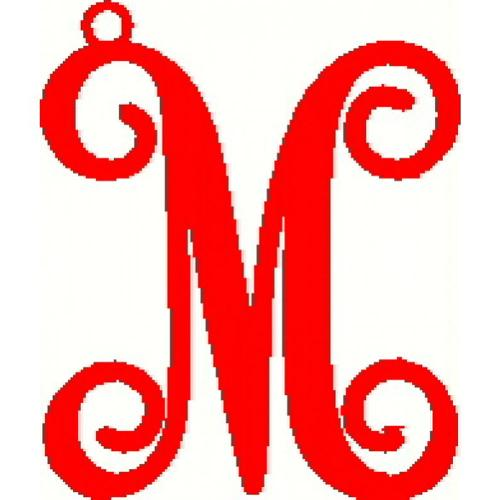 Metal Single Initial Script Monogram Ornament  Home & Garden > Decor