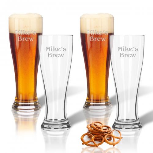 Pilsner Glasses Personalized Set of 4  Home & Garden > Kitchen & Dining > Tableware > Drinkware > Pint Glasses