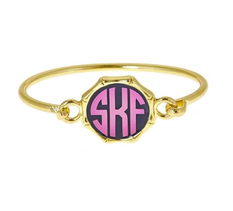 Monogrammed Enameled Bamboo Bracelet All Colors  Apparel & Accessories > Jewelry > Bracelets