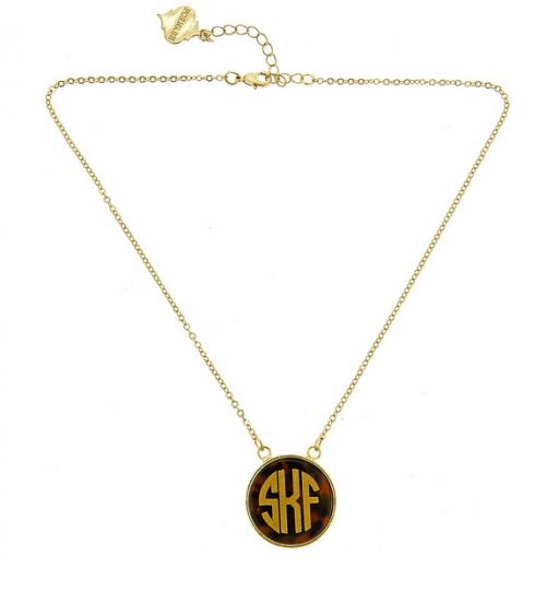 Monogrammed tortoise shell small pendant necklace  Apparel & Accessories > Jewelry > Necklaces