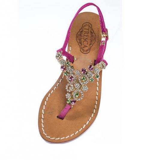Tresca Ladies Pink Metallic Leather Sandal with Multi Colored Stones Buy Apparel & Accessories > Shoes > Sandals