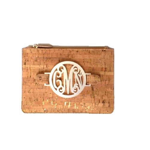 Cork Harper Clutch with Interchangeable Monogram  Apparel & Accessories > Handbags > Clutches & Special Occasion Bags