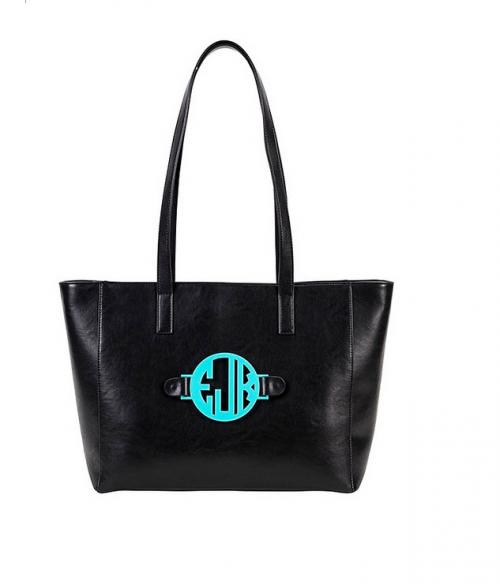Black Shoulder Bag with Interchangeable Monogram  Apparel & Accessories > Handbags > Tote Handbags