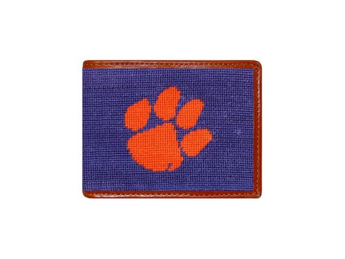Smathers and Branson Clemson Needlepoint Bi-Fold Leather Wallet - Monogrammable  Apparel & Accessories > Clothing Accessories > Wallets & Money Clips