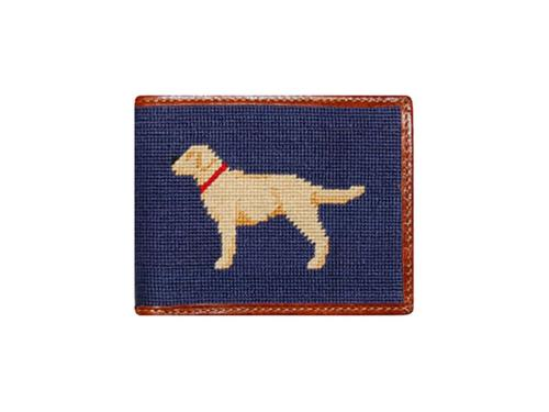 Smathers and Branson Yellow Lab Needlepoint Bi-Fold Leather Wallet - Monogrammable  Apparel & Accessories > Clothing Accessories > Wallets & Money Clips