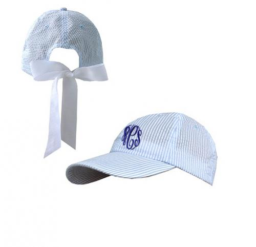 Monogrammed Blue and White Seersucker Ball Cap  Apparel & Accessories > Clothing Accessories > Hats > Caps