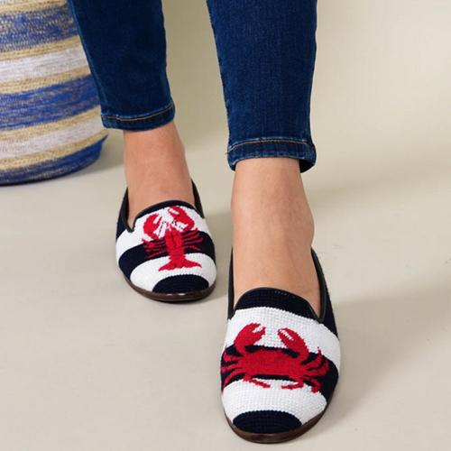 By Paige Ladies Lobster and Crab Needelpoint Loafers  Apparel & Accessories > Shoes > Loafers