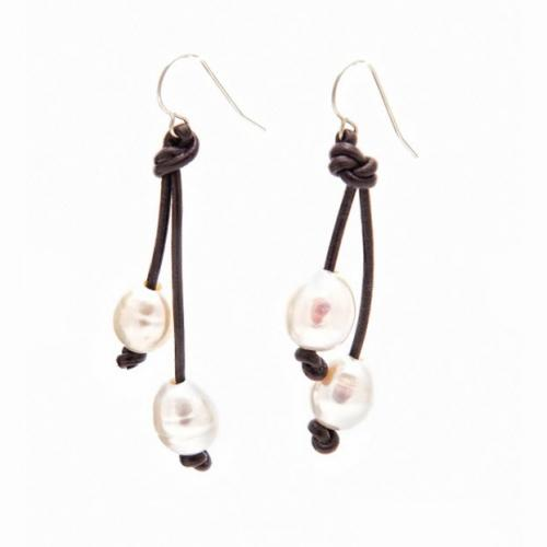 Leather and Pearl Earrings  Apparel & Accessories > Jewelry > Earrings