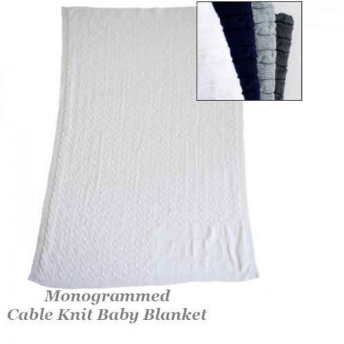 Monogrammed Cable Knit Stroller Blanket  Home & Garden > Linens & Bedding > Bedding > Blankets > Throws