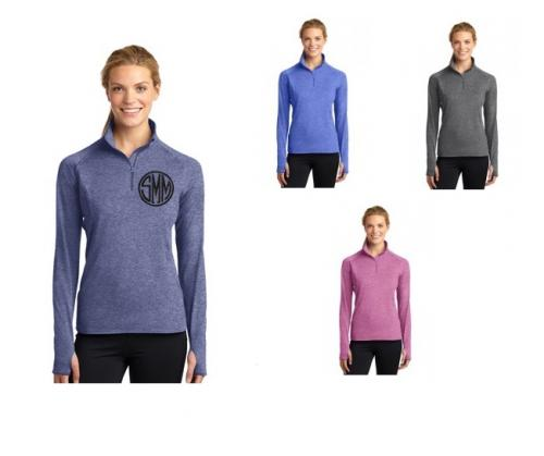 Monogrammed Ladies Quarter Zipped Heathered Pullover  Apparel & Accessories > Clothing > Activewear