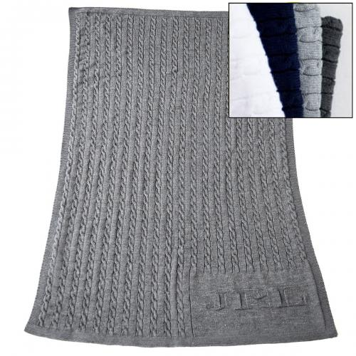 "Monogrammed Cable Knit Blanket 50' by 62""  Home & Garden > Linens & Bedding > Bedding > Blankets > Throws"