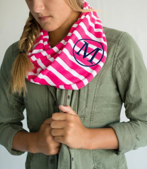 Monogrammed Youth Scarf in Hot Pink and White Stripes  Apparel & Accessories > Clothing Accessories > Scarves & Shawls
