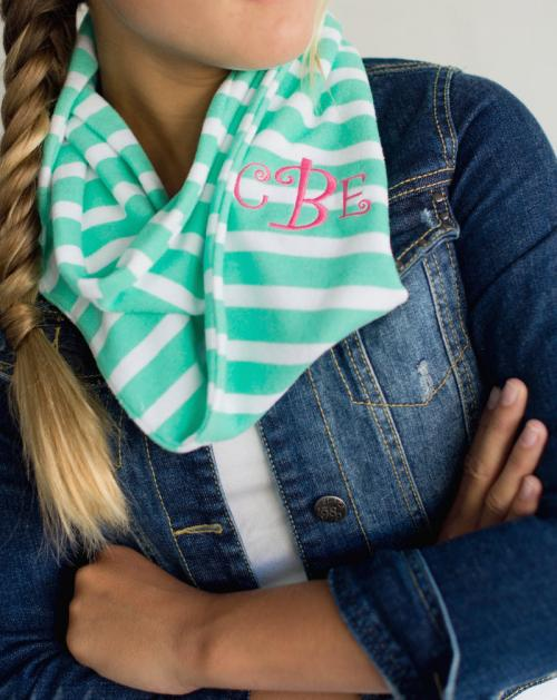 ON SALE! Monogrammed Youth Scarf in Mint Green and White Stripe  Apparel & Accessories > Clothing Accessories > Scarves & Shawls