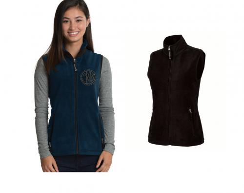Monogrammed Ridgeland Fleece Vest in Black or Navy  Apparel & Accessories > Clothing > Outerwear > Vests