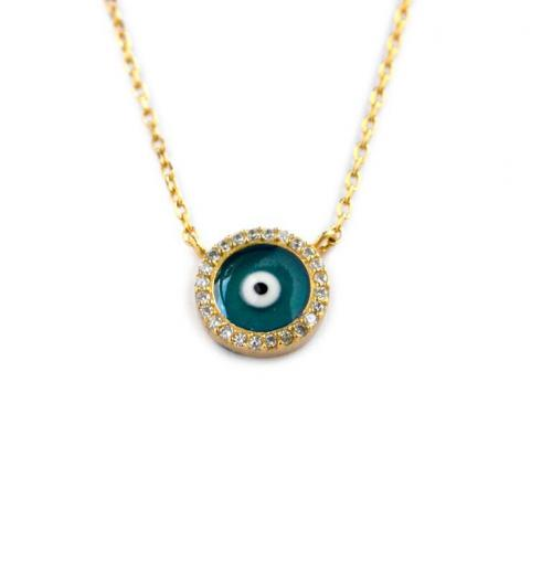 Evil Eye Necklace with 25 CZs All Around and Blue and White Enamel  Apparel & Accessories > Jewelry > Necklaces