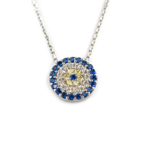 Round Necklace with 20 Blue CZs, 14 White CZs and 6 Yellow CZs   Apparel & Accessories > Jewelry > Necklaces