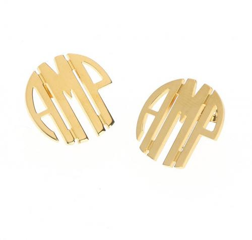 Monogrammed Earrings Medium in Gold Plated on Circle Studs  Gold Monogrammed Ladies Circle Earrings  Apparel & Accessories > Jewelry > Earrings