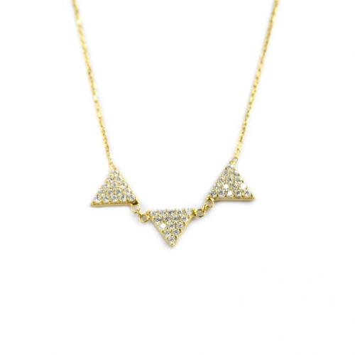 Sterling Silver Triple Triangle Necklace with 15 czs on Each Triangle   Apparel & Accessories > Jewelry > Necklaces