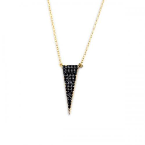 Triangle Necklace with 50 Black CZs All Over   Apparel & Accessories > Jewelry > Necklaces
