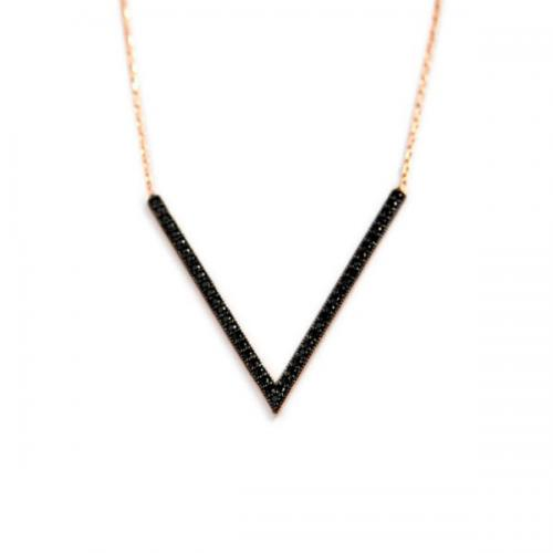 V Necklace with 45 Black CZs   Apparel & Accessories > Jewelry > Necklaces