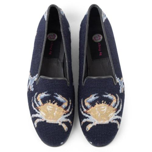 By Paige Ladies Needlepoint Crab on Navy Loafers   Apparel & Accessories > Shoes > Loafers