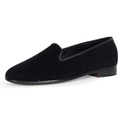 By Paige Ladies Needlepoint Solid Black Loafers   Apparel & Accessories > Shoes > Loafers
