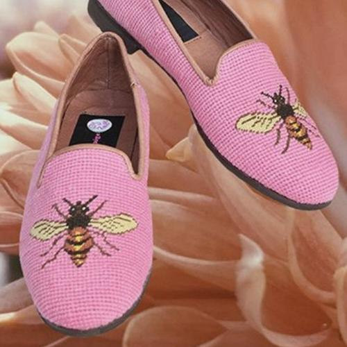By Paige Ladies Needlepoint Bee on Shrimp Loafers   Apparel & Accessories > Shoes > Loafers