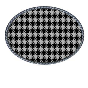 Loopty Loo Black and White Houndstooth Belt Buckle  Black and White Houndstooth Belt Buckle  Apparel & Accessories > Clothing Accessories > Belt Buckles