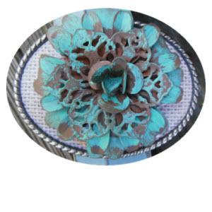 Loopty Loo Turquoise Metal Blossom Belt Buckle  Turquoise Metal Blossom Belt Buckle  Apparel & Accessories > Clothing Accessories > Belt Buckles