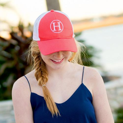 Monogrammed Coral Trucker Hat for Women   Apparel & Accessories > Clothing Accessories > Hats > Caps