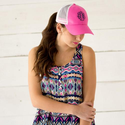 Monogrammed Hot Pink Trucker Hat for Women   Apparel & Accessories > Clothing Accessories > Hats > Caps