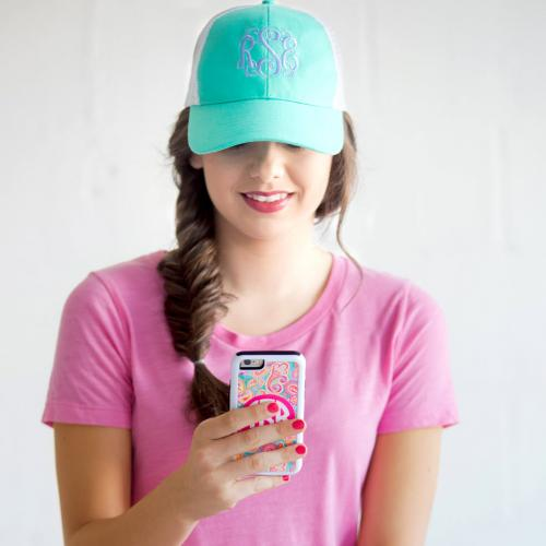 Monogrammed Mint Trucker Hat for Women   Apparel & Accessories > Clothing Accessories > Hats > Caps