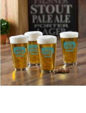 Personalized Glass Set Neighborhood Pub   Home & Garden > Kitchen & Dining > Tableware > Drinkware > Pint Glasses