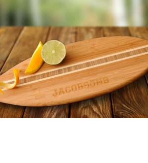 Monogrammed Cutting Board Bamboo Surfboard  Personalized Cutting Board Bamboo Surfboard  Home & Garden > Kitchen & Dining > Kitchen Tools & Utensils > Cutting Boards