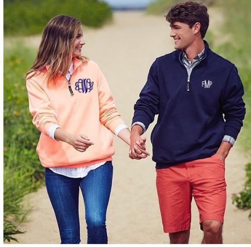 Monogrammed Crosswinds Quarter Zip Sweatshirt Men or Women  Apparel & Accessories > Clothing > Activewear > Sweatshirts