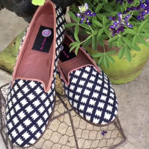 By Paige Ladies Needlepoint Navy and White Check Loafers   Apparel & Accessories > Shoes > Loafers
