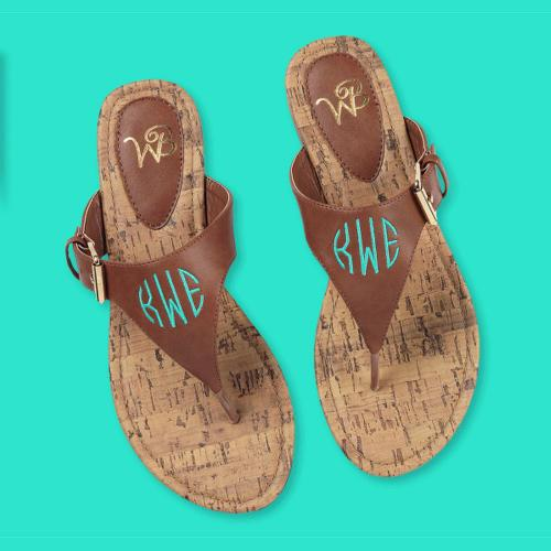 Monogrammed Ladies Brown Natalie Sandals  Apparel & Accessories > Shoes > Sandals > Thongs & Flip-Flops