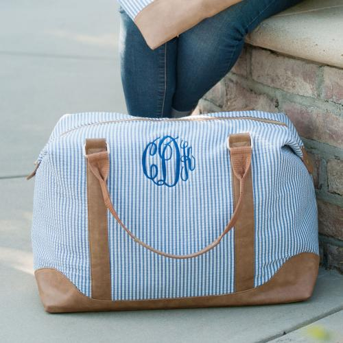 Monogrammed Navy Seersucker Weekender Bag  Luggage & Bags > Suitcases > Carry-On Luggage