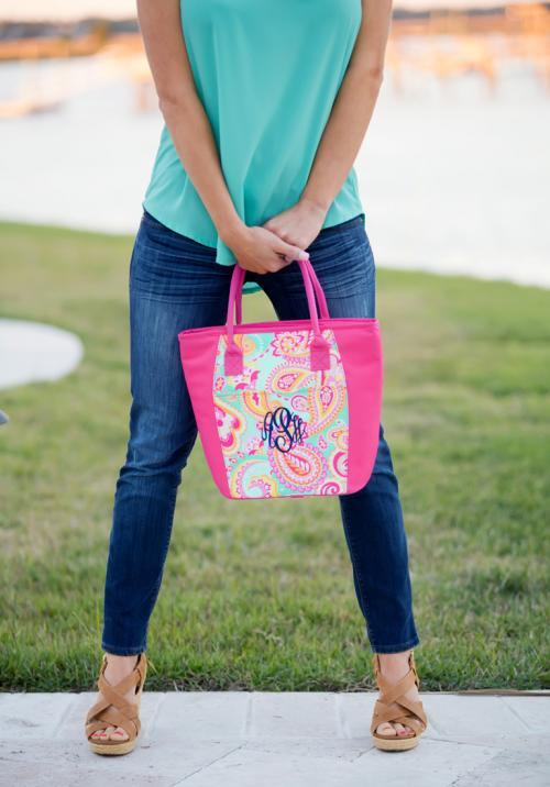 Monogrammed Summer Paisley Cooler Tote  Home & Garden > Kitchen & Dining > Food & Beverage Carriers > Coolers