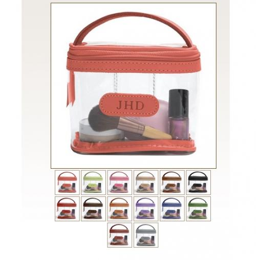 Jon Hart Designs Monogrammed Clear Mini Makeup Case   Luggage & Bags > Toiletry Bags