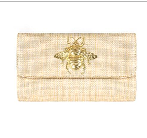 Avery Straw Foldover Clutch With Motif  Apparel & Accessories > Handbags > Clutches & Special Occasion Bags