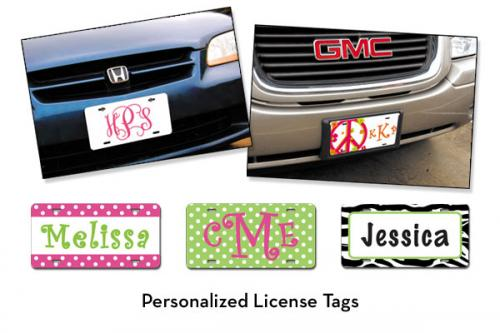 "Monogrammed Car Tags or License Plates- ""The New Must Have"" From The Pink Monogram Gallery_117"