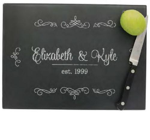 Personalized Cutting Board in Vintage Ornate Chalkboard Style   Black Monogrammed Rectangle Vintage Cutting Board  Home & Garden > Kitchen & Dining > Kitchen Tools & Utensils > Cutting Boards