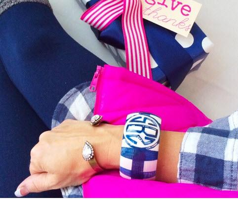 Monogrammed Hand Painted Navy and White Buffalo Check Bangle  Apparel & Accessories > Jewelry > Bracelets