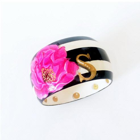 Monogrammed Here Comes The Bloom Hand Painted Bangle Monogrammed Here Comes The Bloom Monogrammed Bangle Apparel & Accessories > Jewelry > Bracelets