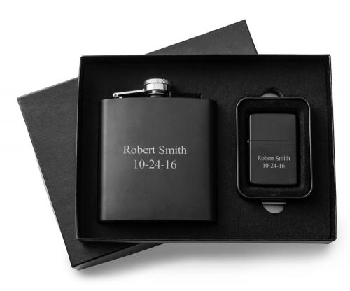 Personalized Black Matte Flask and Lighter Set Personalized Flask and Lighter Set Black Matte  Home & Garden > Kitchen & Dining > Food & Beverage Carriers > Flasks