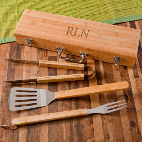 Personalized Grilling BBQ Set with Bamboo Case Personalized Grilling BBQ and Case in Bamboo  Home & Garden > Kitchen & Dining > Kitchen Tools & Utensils > Kitchen Utensil Sets